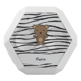 Personalized name bear zebra stripes white boombot rex bluetooth speaker