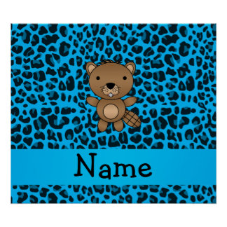 Personalized name beaver blue leopard pattern print