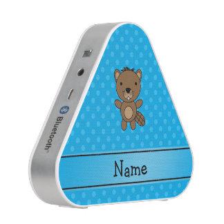 Personalized name beaver blue polka dots