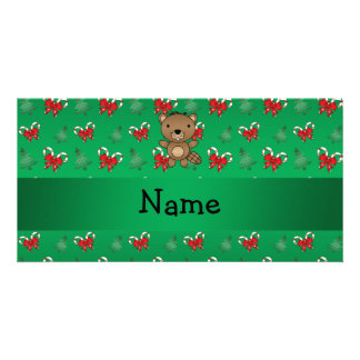 Personalized name beaver green candy canes bows photo cards