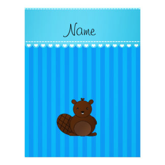 Personalized name beaver sky blue stripes flyers