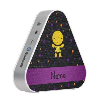 Personalized name bee black purple polka dots bluetooth speaker