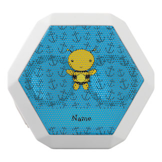 Personalized name bee blue anchors pattern white boombot rex bluetooth speaker