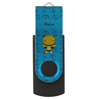 Personalized name bee blue anchors pattern swivel USB 2.0 flash drive