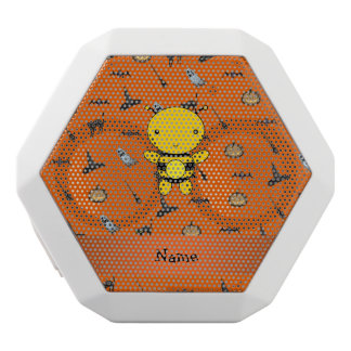 Personalized name bee halloween pattern white boombot rex bluetooth speaker