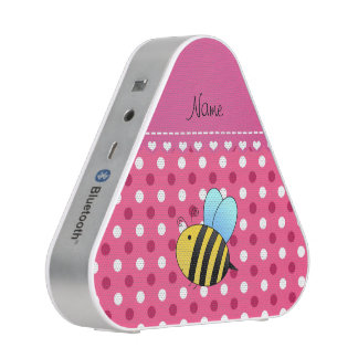 Personalized name bee pink white polka dots speaker