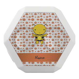 Personalized name bee pumpkins pattern white boombot rex bluetooth speaker