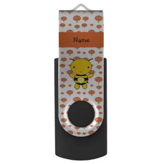 Personalized name bee pumpkins pattern swivel USB 2.0 flash drive