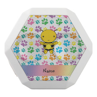 Personalized name bee rainbow paws white boombot rex bluetooth speaker