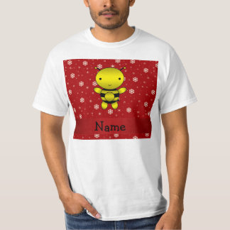Personalized name bee red snowflakes tshirts