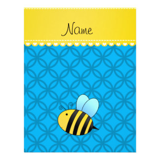 Personalized name bee sky blue circles custom flyer