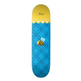 Personalized name bee sky blue circles skate board deck