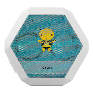Personalized name bee turquoise glitter white boombot rex bluetooth speaker