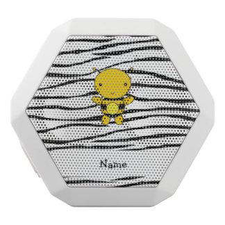 Personalized name bee zebra stripes white boombot rex bluetooth speaker