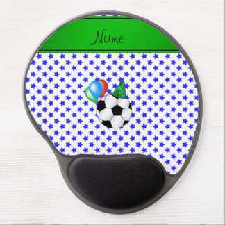 Personalized name birthday soccer blue stars gel mouse pads