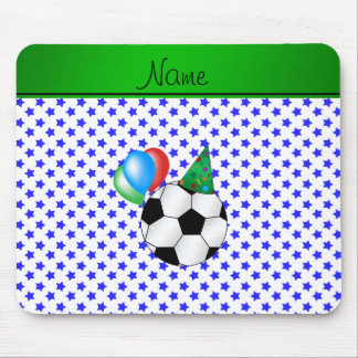 Personalized name birthday soccer blue stars mousepads