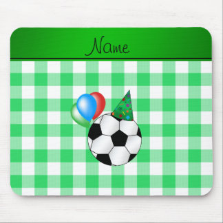 Personalized name birthday soccer green checkers mousepads