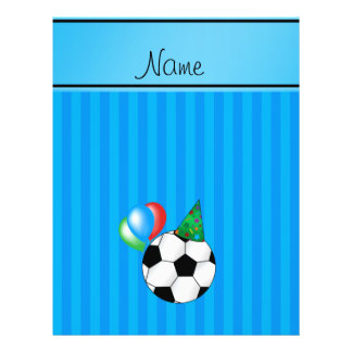 Personalized name birthday soccer sky blue stripes full color flyer