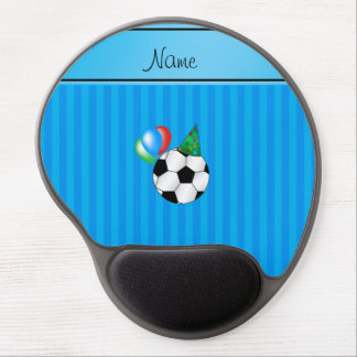 Personalized name birthday soccer sky blue stripes gel mouse pad