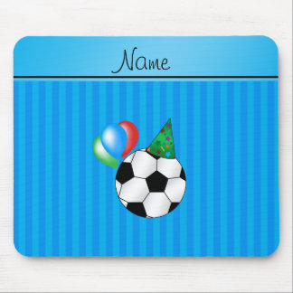Personalized name birthday soccer sky blue stripes mouse pad