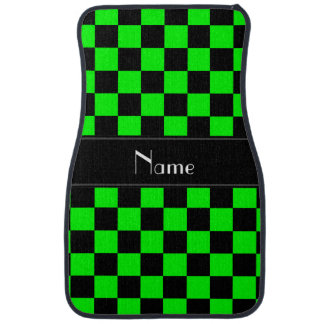 Personalized name black and neon green checkers car mat