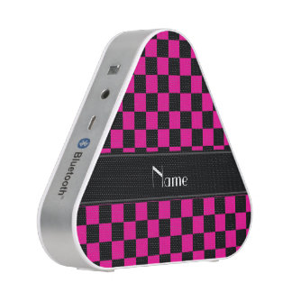 Personalized name black and pink checkers bluetooth speaker