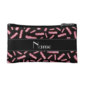 Personalized name black bacon pattern cosmetics bags