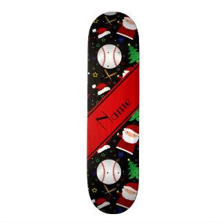 Personalized name black baseball christmas skateboard