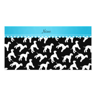 Personalized name black bedlington terrier dogs photo cards