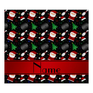 Personalized name black bowling christmas pattern poster