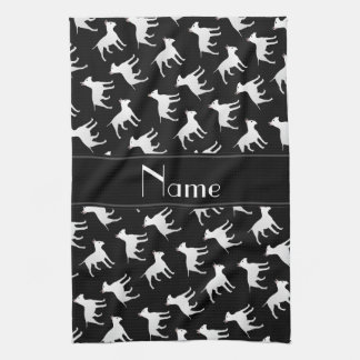 Personalized name black bull terrier dogs tea towel