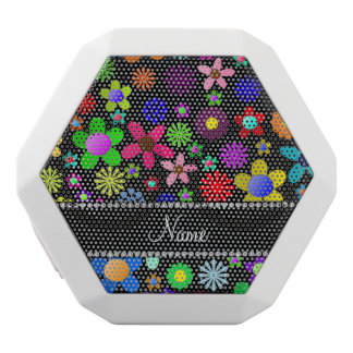 Personalized name black colorful retro flowers