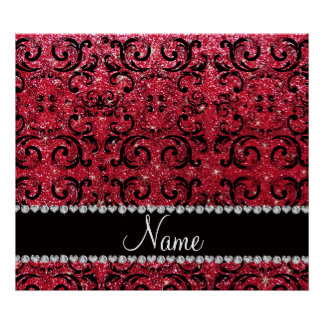 Personalized name black crimson red glitter damask print