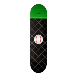 Personalized name black criss cross baseball skateboards