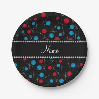 Personalized name black crochet pattern paper plate