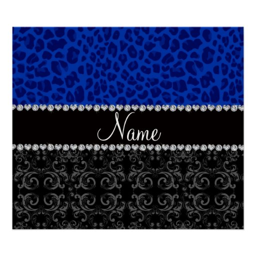 Personalized name black damask blue leopard posters