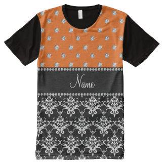 Personalized name black damask orange diamonds All-Over print T-Shirt