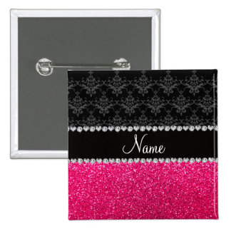 Personalized name black damask pink glitter 15 cm square badge