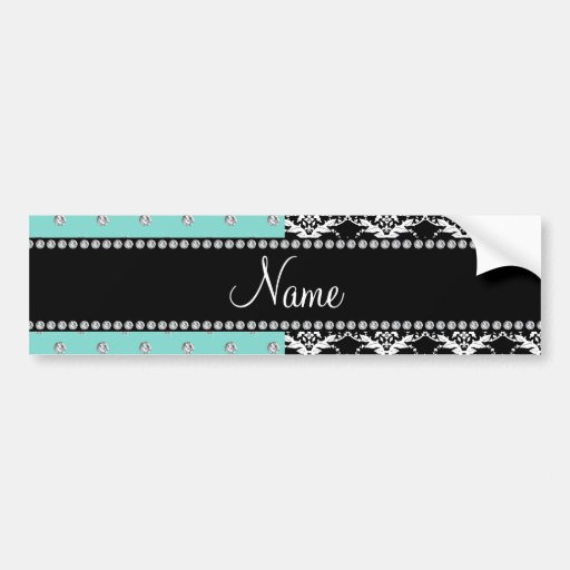 Personalized name black damask seafoam green bling bumper stickers