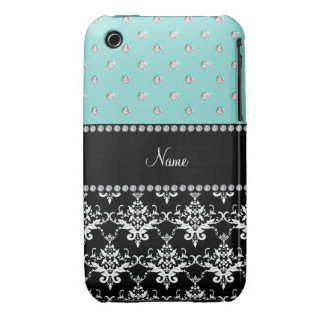 Personalized name black damask seafoam green bling Case-Mate iPhone 3 cases