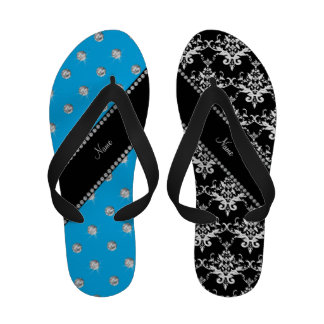 Personalized name black damask sky blue diamonds Flip-Flops