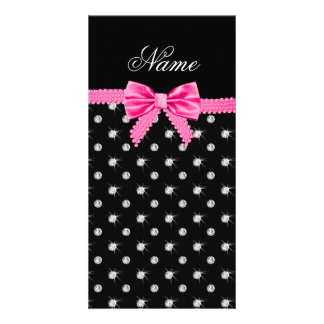 Personalized name black diamonds pink bow customized photo card