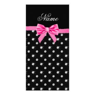 Personalized name black diamonds pink bow customized photo card
