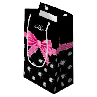 Personalized name black diamonds pink bow small gift bag