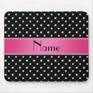 Personalized name black diamonds pink stripe mouse pad