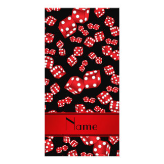Personalized name black dice pattern personalized photo card