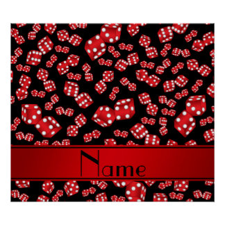 Personalized name black dice pattern poster