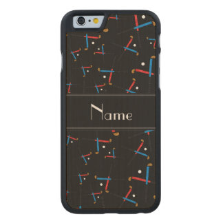 Personalized name black field hockey carved® maple iPhone 6 case