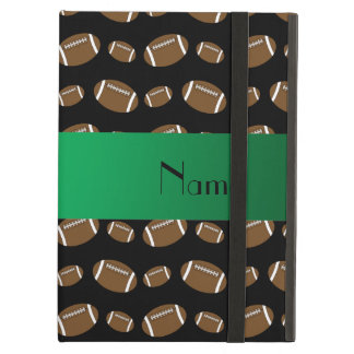 Personalized name black footballs iPad covers