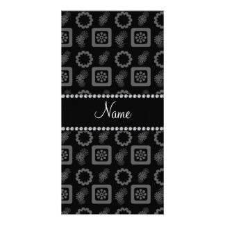 Personalized name black funky retro flowers personalized photo card